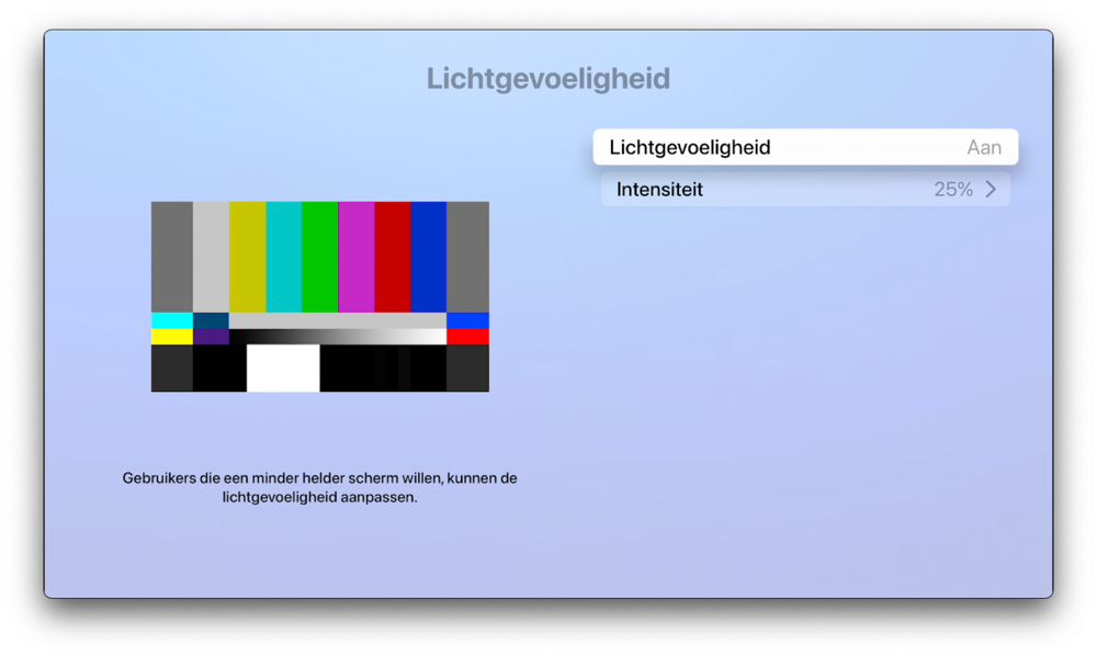 Lichtgevoeligheid op Apple TV als alternatief voor Night Shift.