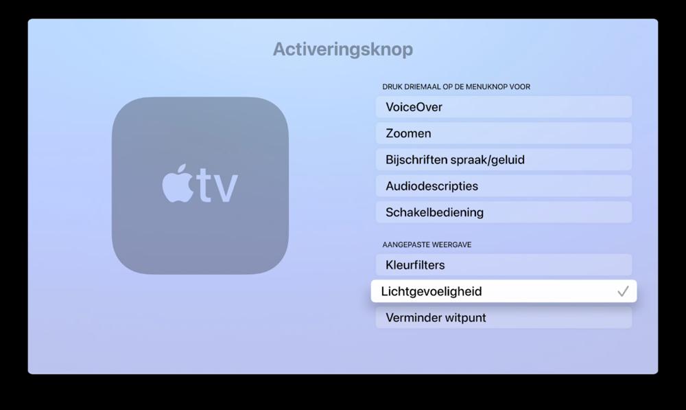 Activeringsknop voor Lichtgevoeligheid op de Apple TV.