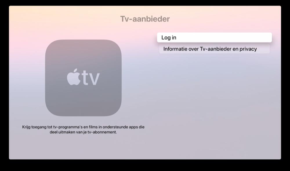 Apple TV: instelling voor Tv-aanbieder met single sign-on.