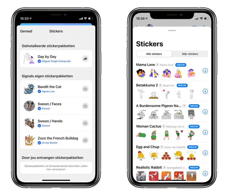 Stickers in Signal vs WhatsApp.