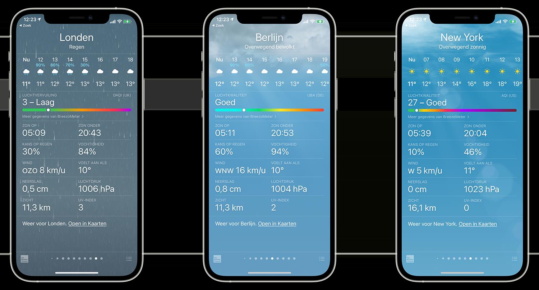 Luchtkwaliteit op de iPhone bekijken