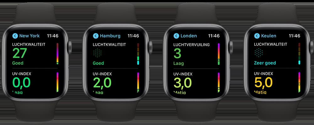 Luchtkwaliteit op Apple Watch in steden