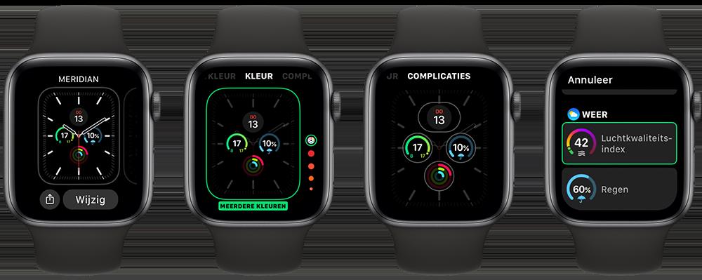 Luchtkwaliteit op Apple Watch instellen met complicatie