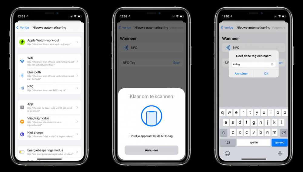 AirTag als NFC-tag scannen en instellen.