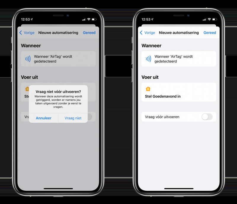 AirTag als NFC-tag voor HomeKit: vraag voor uitvoeren uitschakelen.