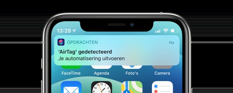 Melding van AirTag via Opdrachten-app.