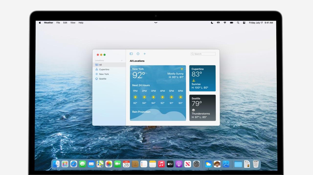 Concept van macOS 12 met Weer-app.