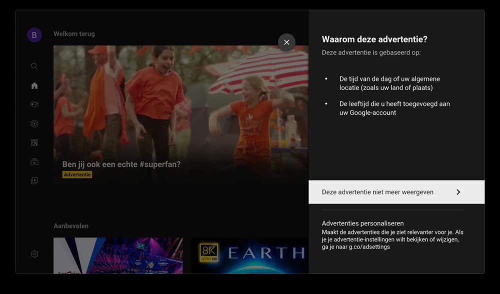 Advertentie in YouTube op de Apple TV.