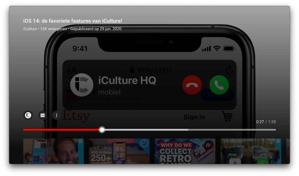 Videospeler in YouTube op de Apple TV in 2021.