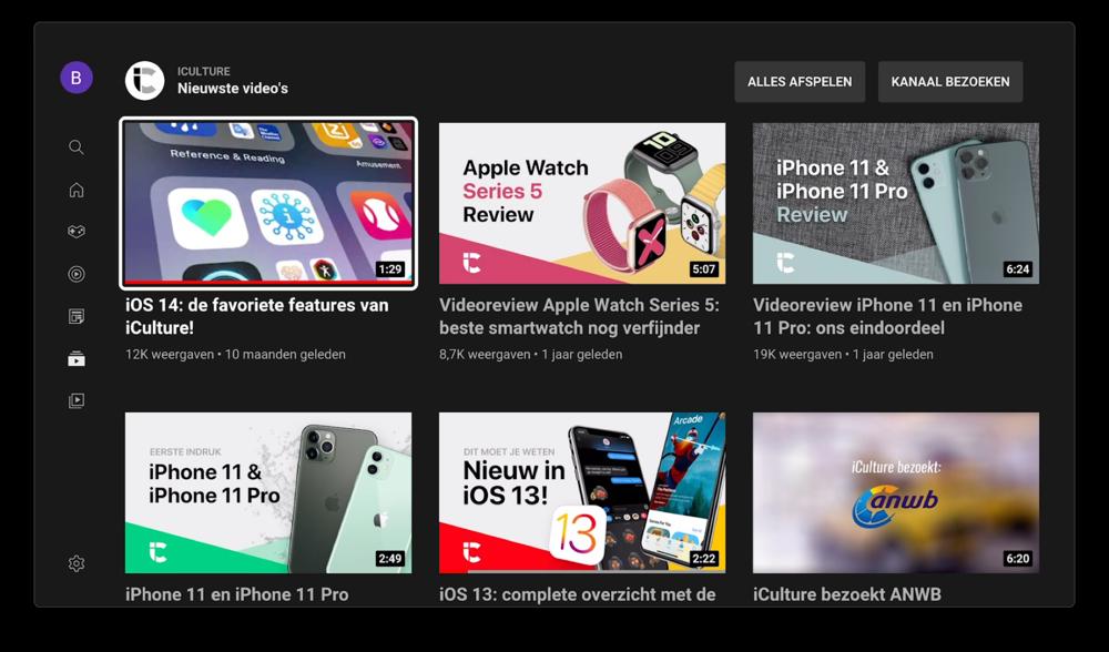 Kanaal op YouTube op Apple TV met nieuw design.