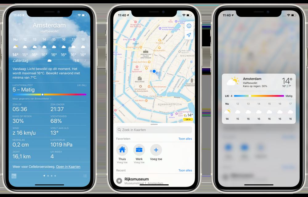 Luchtkwaliteit in iOS 14.7 in Nederland in Weer en Kaarten.