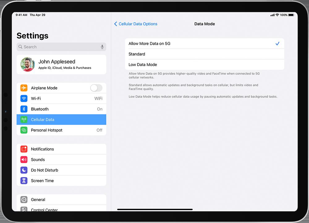 iPad 5G-instellingen
