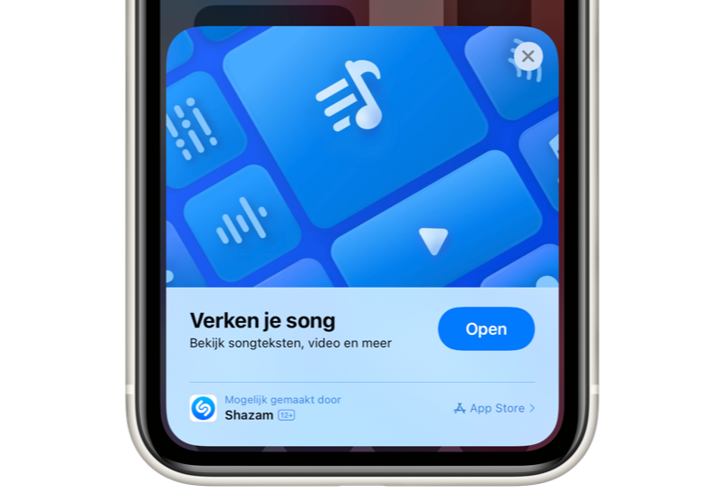 Shazam-app met App Clip voor muziekherkenning.