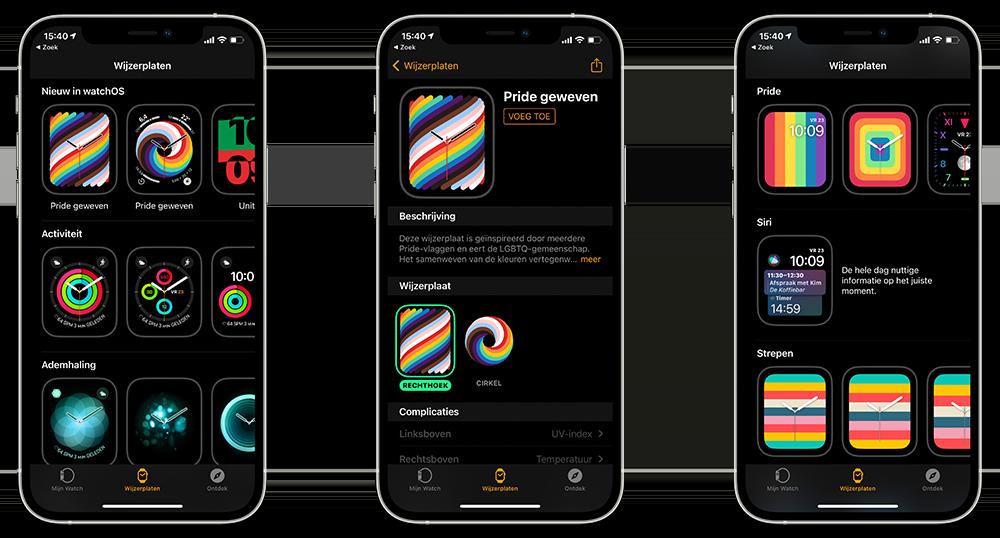 Pride wijzerplaat op iPhone instellen