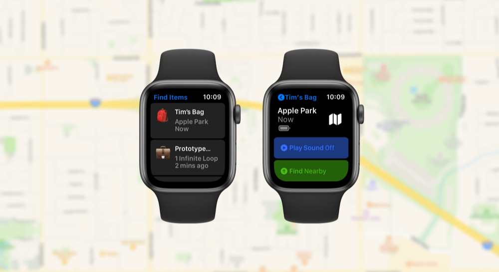 Concept van AirTag op Apple Watch.