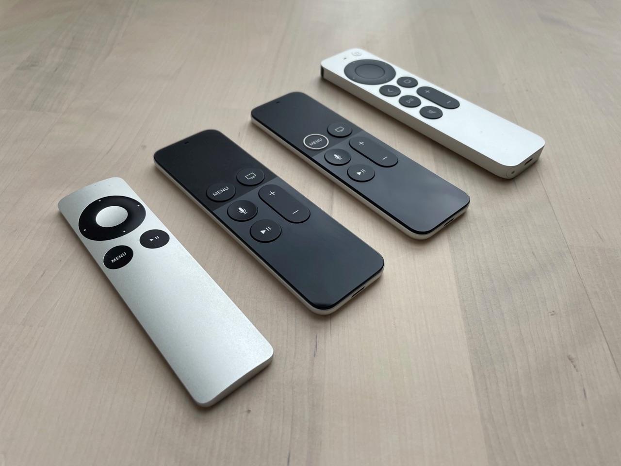 Generaties Siri Remote en Apple TV-afstandsbediening.