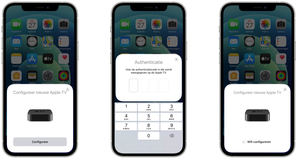 Apple TV instellen via de iPhone.