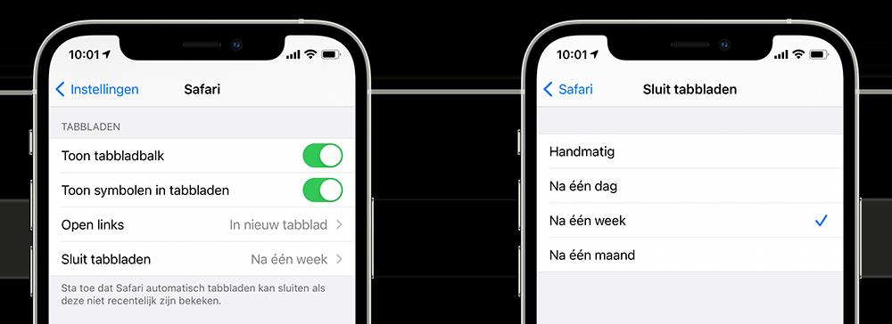 Safari tabbladen automatisch sluiten