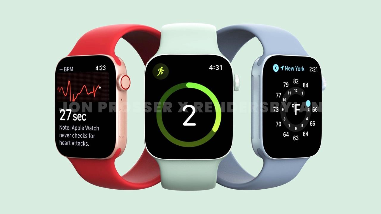Apple Watch Series 7 renders in rood, groen en blauw.