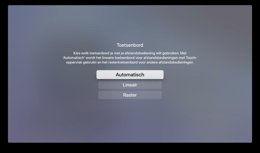 Apple TV-toetsenbord type automatisch selecteren via instellingen.
