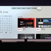 Zoeken op de Apple TV met een vierkant toetsenbord.