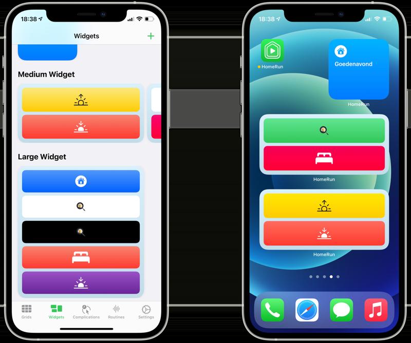 HomeRun 2 widgets instellen.