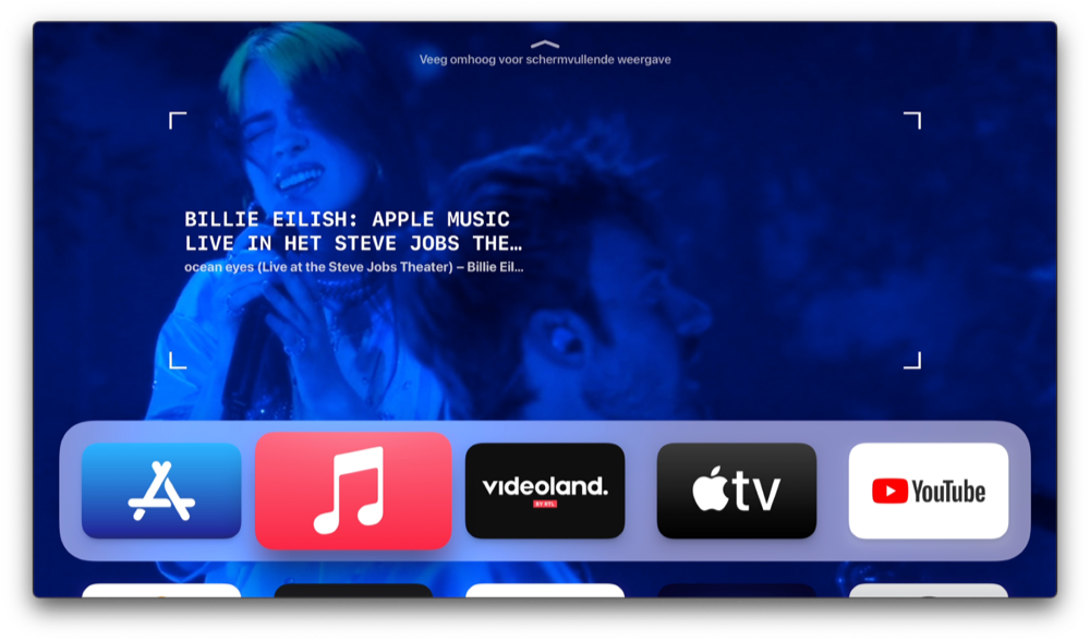 tvOS 14 Muziek-app met Billie Eilish.