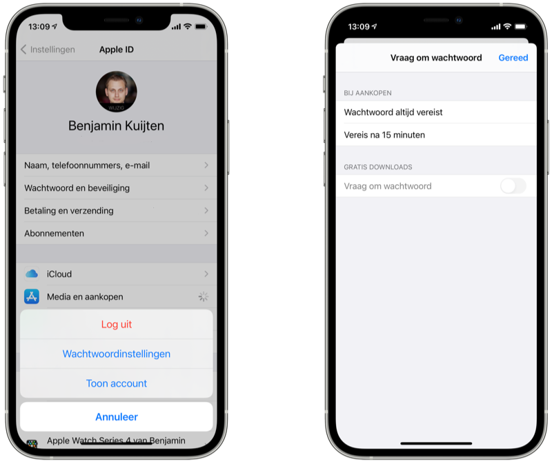 Wachtwoordinstellingen: wachtwoord voor gratis apps uit de App Store uitschakelen.