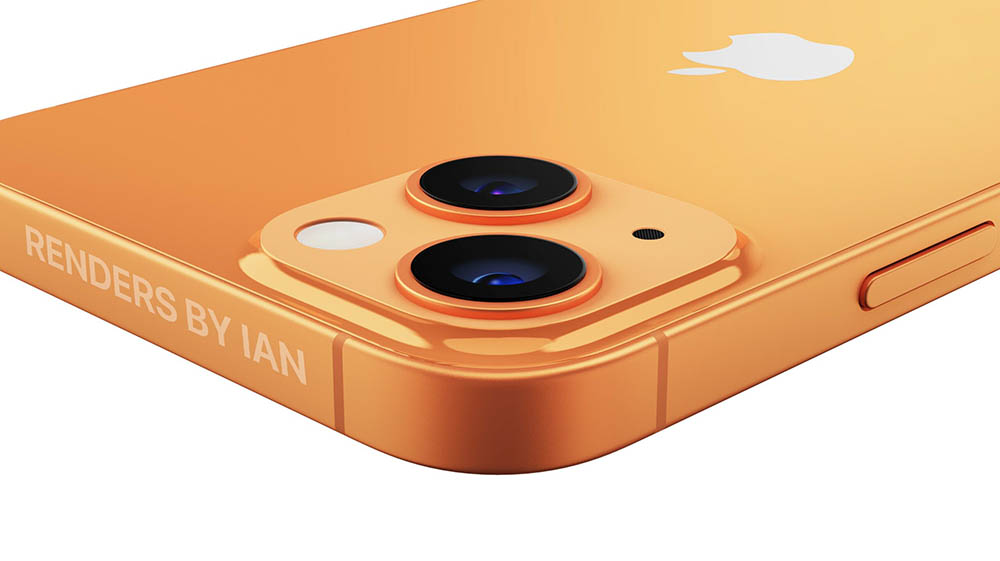 iPhone 13 oranje CAD-renders