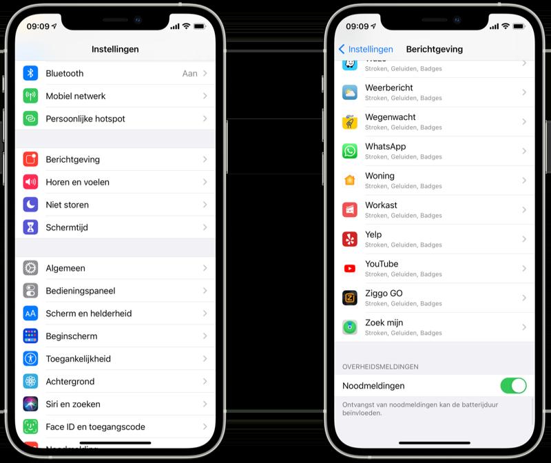 NL-Alert op iPhone inschakelen in 2021.