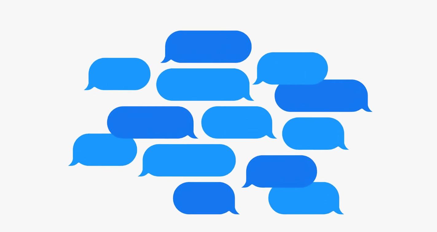 Blauwe iMessage bubbels