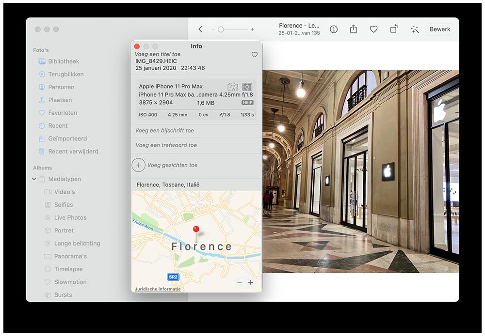 EXIF info in Mac Foto's-app