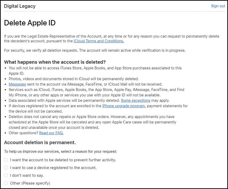 Apple Digital Legacy account wissen