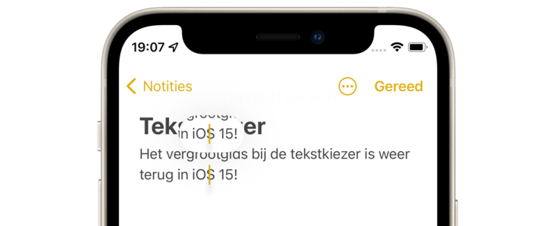 iOS 15: vergrootglas bij tekstkiezer.