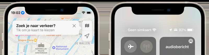 iOS 15: nieuwe icoontjes in statusbalk.