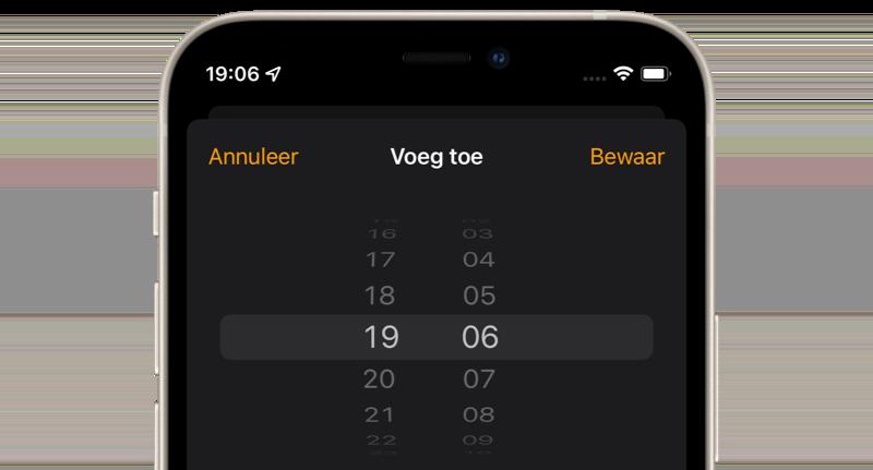 iOS 15: tijdkiezer is terug van weggeweest.