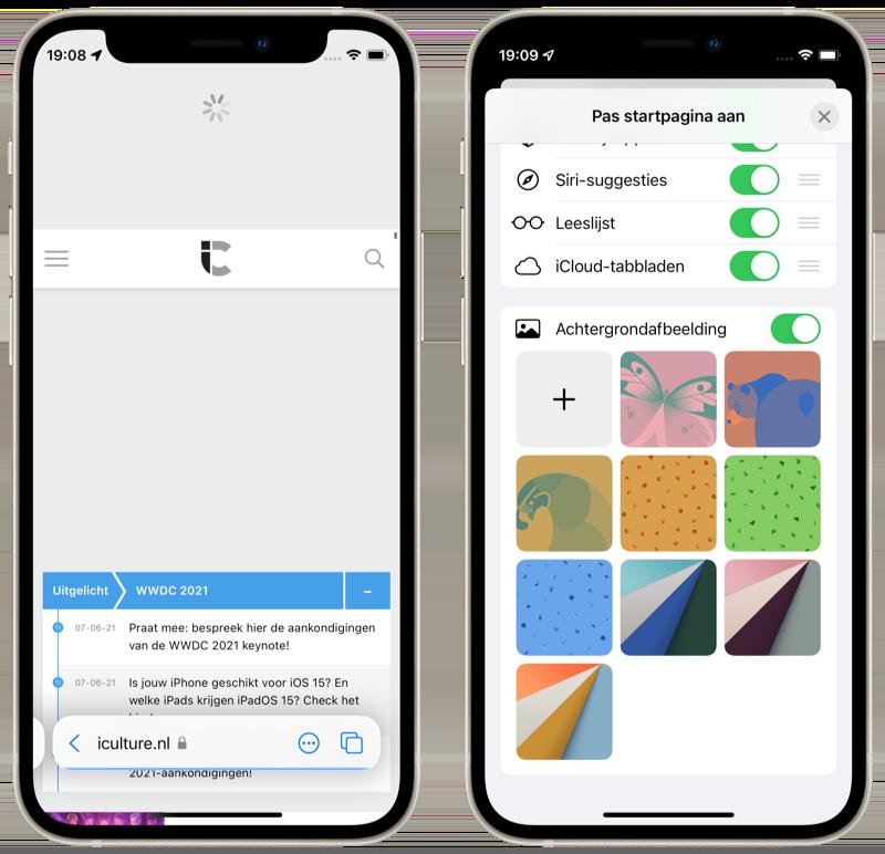 iOS 15: Safari met pull to refresh en wallpapers.