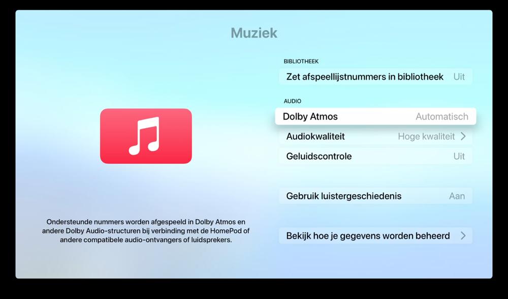 Op Apple TV Dolby Atmos muziek afspelen.