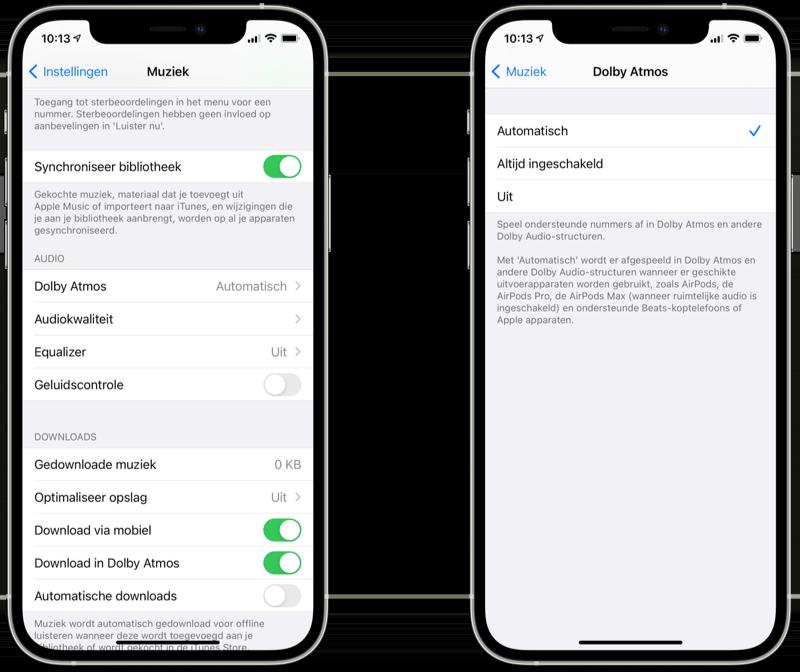 Dolby Atmos voor Apple Music instellen op iPhone.