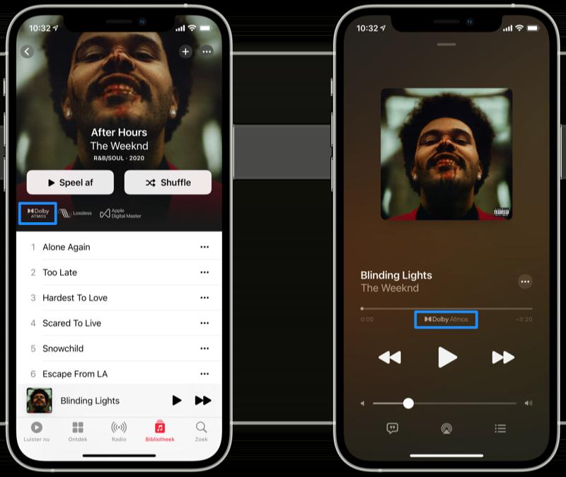 In Apple Music Dolby Atmos muziek herkennen.