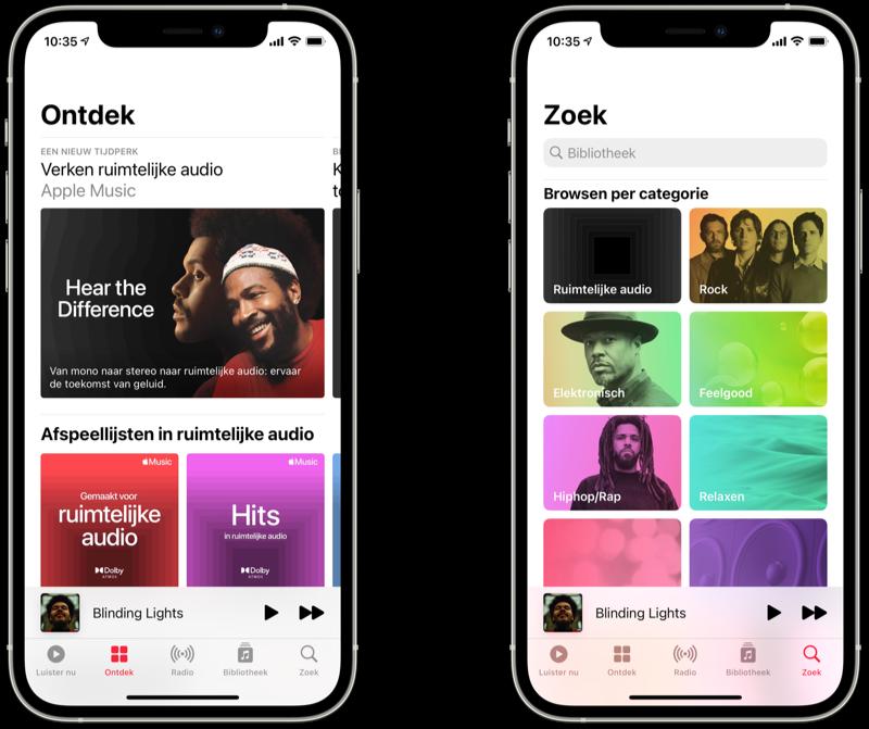 In Apple Music zoeken naar muziek met ruimtelijke audio.