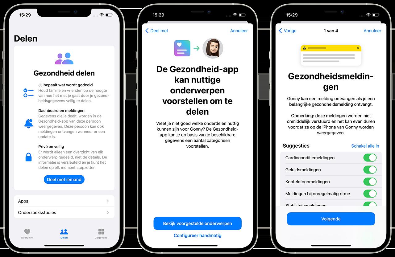 Gezondheidsdata delen in iOS 15