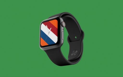 Apple Watch-wijzerplaat voor Nederland: oranje met Nederlandse vlag.