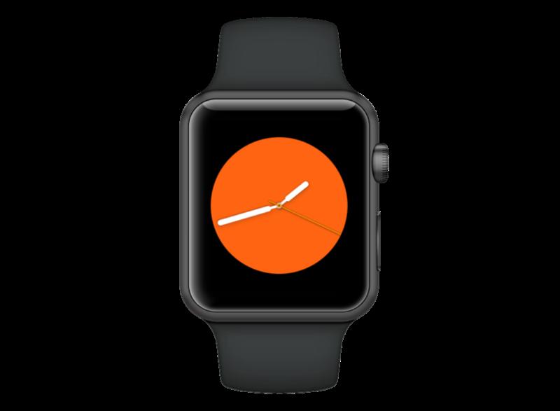 Oranje wijzerplaat voor Apple Watch Series 3.