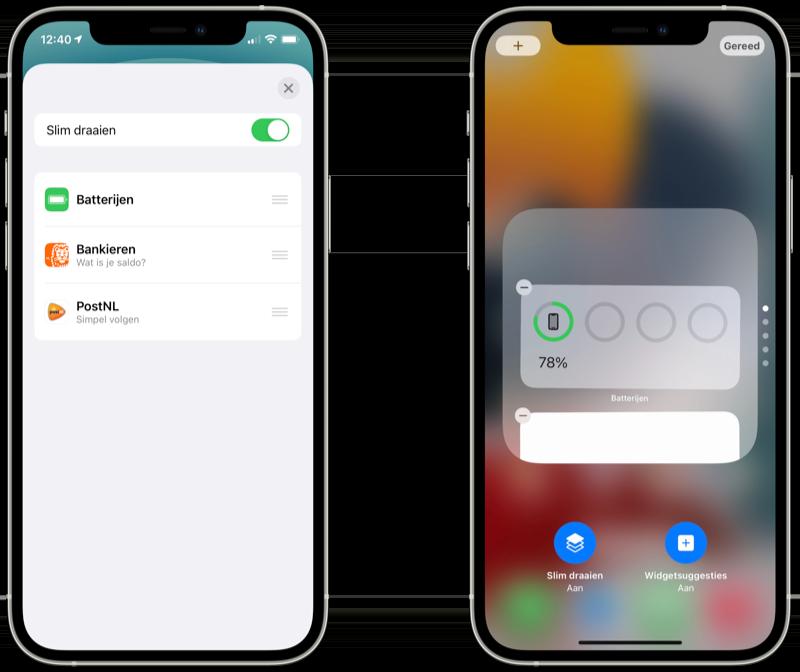 Stapel widgets instellen in iOS 14 vs iOS 15.Stapel widgets instellen in iOS 14 vs iOS 15.
