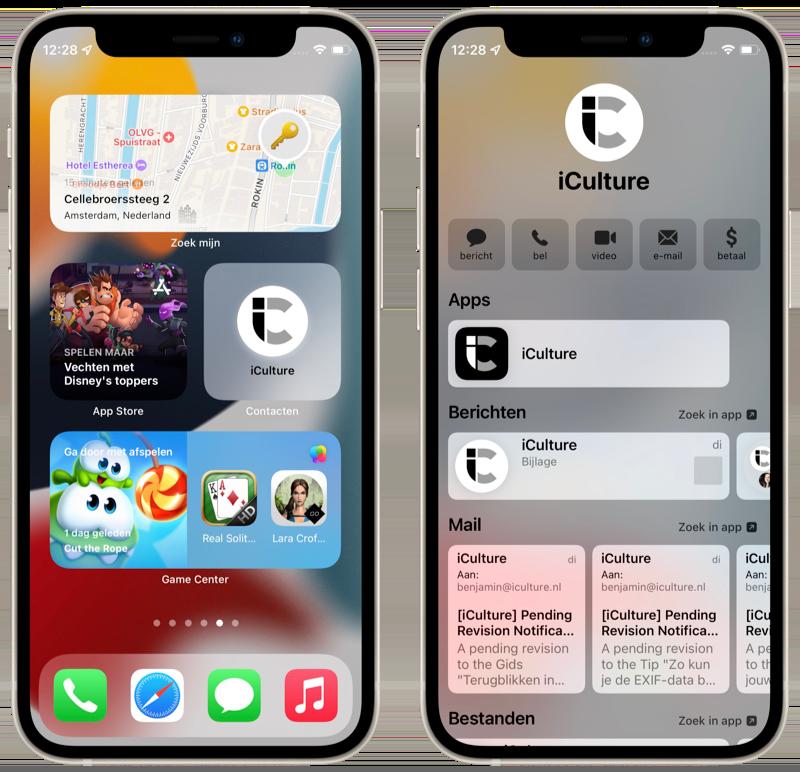 iOS 15: widgets van nieuwe apps.