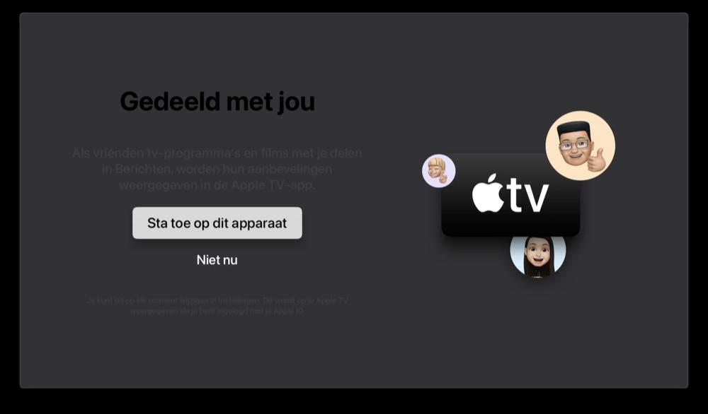 tvOS 15: gedeeld met jou in TV-app.