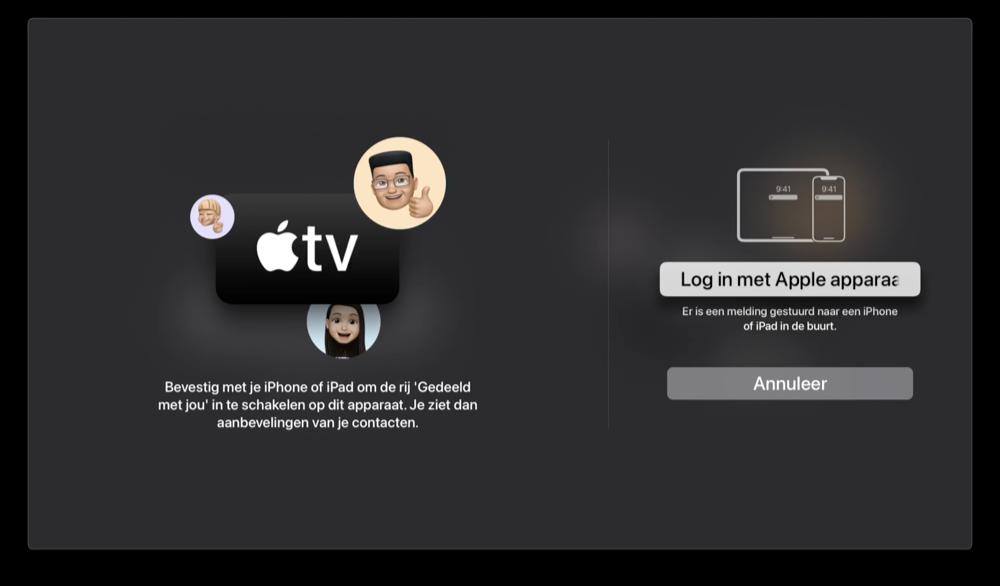 tvOS 15: inloggen met andere Apple-apparaten.