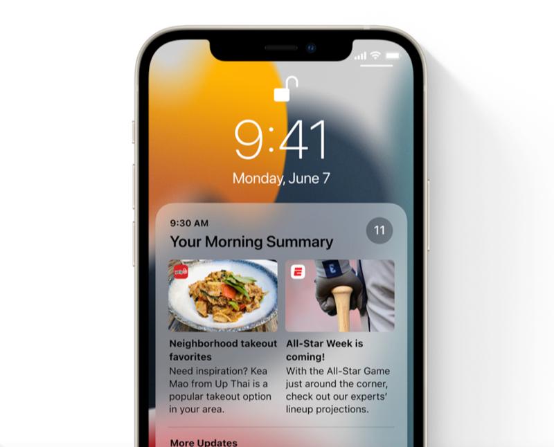 Notificaties samenvatting in iOS 15.
