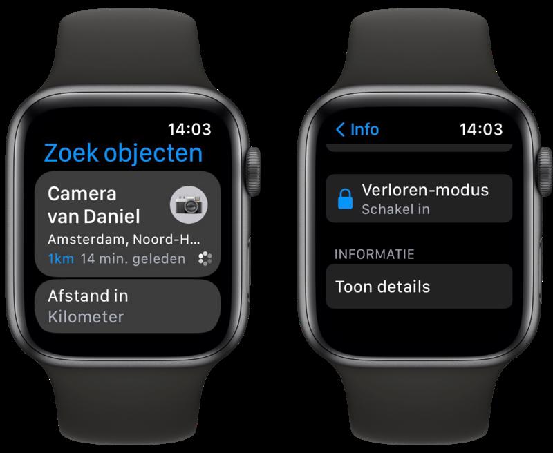watchOS 8: Zoek objecten-app op Apple Watch.